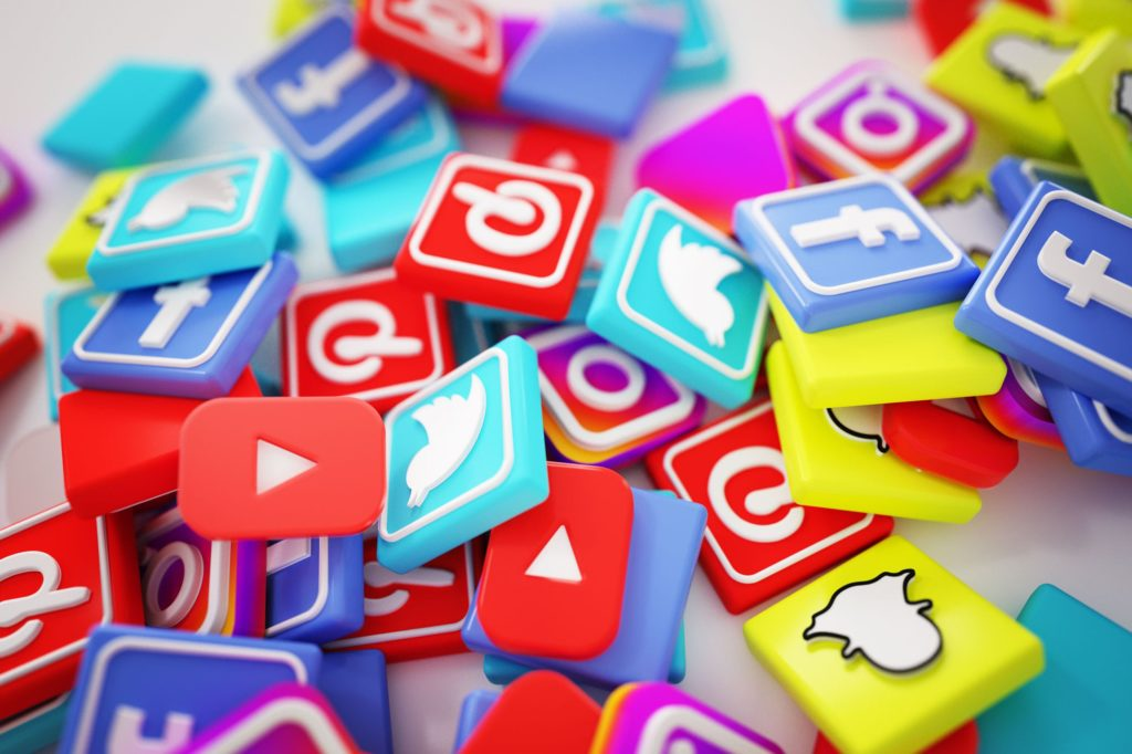 Pile of 3D Social Media icons